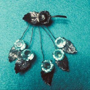 Jewelry - Art-deco Vintage Silver Floral Brooch Aquamarine